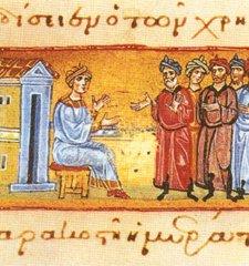 Enluminure du xiiie siècle figurant Josaphat annonçant son départ. Mont Athos, Iviron cod. 463